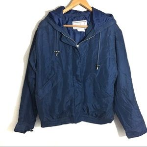 BB Dakota Silk Bomber Jacket Vintage Blue Size S